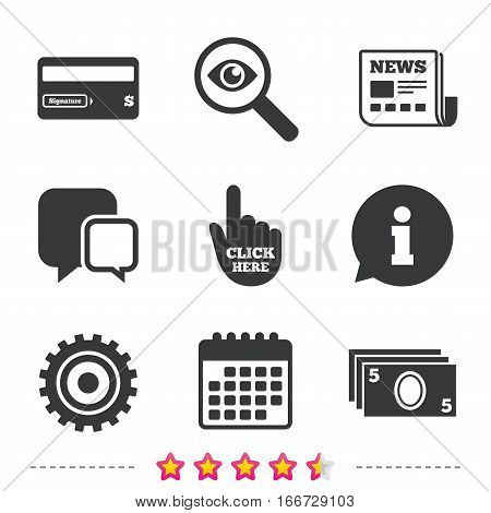 ATM cash machine withdrawal icons. Insert bank card, click here and check PIN, processing and get cash symbols. Newspaper, information and calendar icons. Investigate magnifier, chat symbol. Vector