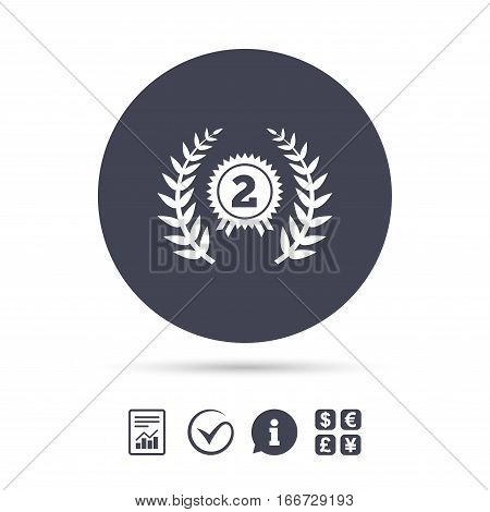 Second place award sign icon. Prize for winner symbol. Laurel Wreath. Report document, information and check tick icons. Currency exchange. Vector