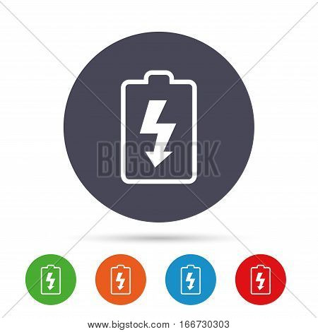 Battery charging sign icon. Lightning symbol. Round colourful buttons with flat icons. Vector