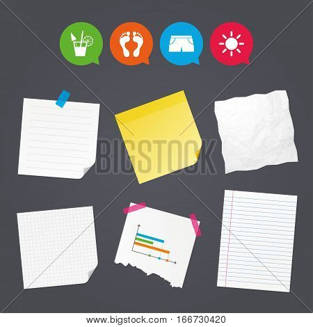 Business paper banners with notes. Beach holidays icons. Cocktail, human footprints and swimming trunks signs. Summer sun symbol. Sticky colorful tape. Speech bubbles with icons. Vector