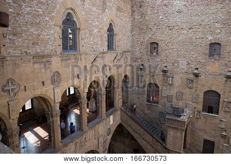 Italy Florence - October 02 2016: view of the inner courtyard wall in the Museo Nazionale del Bargello on October 02 2016 in Florence Italy.