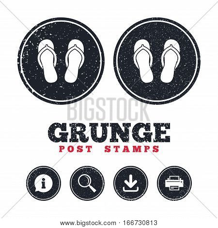 Grunge post stamps. Flip-flops sign icon. Beach shoes. Sand sandals. Information, download and printer signs. Aged texture web buttons. Vector