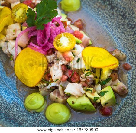 Highly detailed image of delicious ceviche mixto mexican style