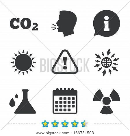 Attention and radiation icons. Chemistry flask sign. CO2 carbon dioxide symbol. Information, go to web and calendar icons. Sun and loud speak symbol. Vector