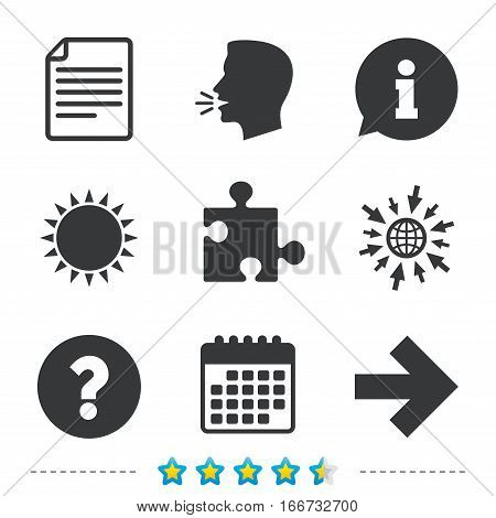 Question mark and puzzle piece icons. Document file and next arrow sign symbols. Information, go to web and calendar icons. Sun and loud speak symbol. Vector