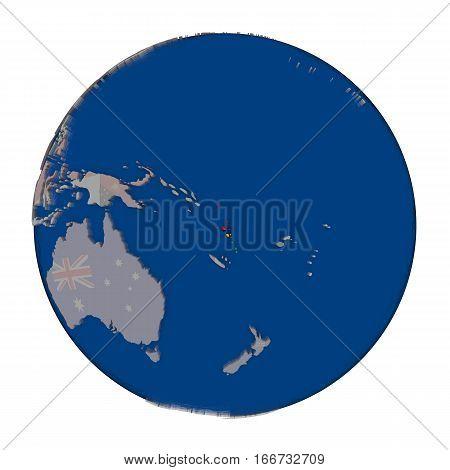 Vanuatu On Political Globe
