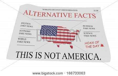 US Politics News Concept: Newspaper Alternative Facts 3d illustration on white background