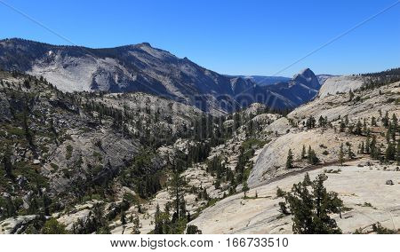 Looking south from Olmsted Point, Yosemite National Park. In view are Tenaya Canyon and Half Dome (north face).