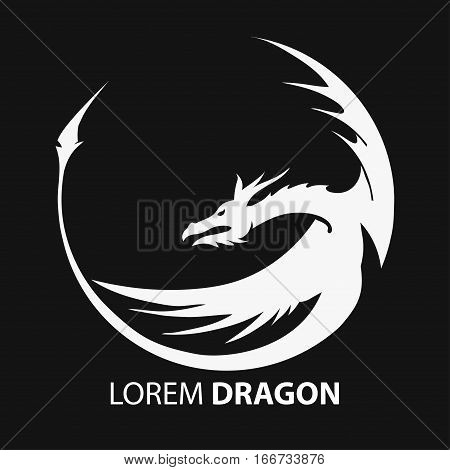 Chinese flying dragon white silhouette on a black background - company emblem. Vector