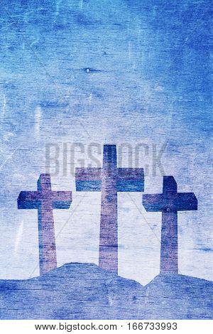 Three Christian crosses on Calvary aged landscape illustration