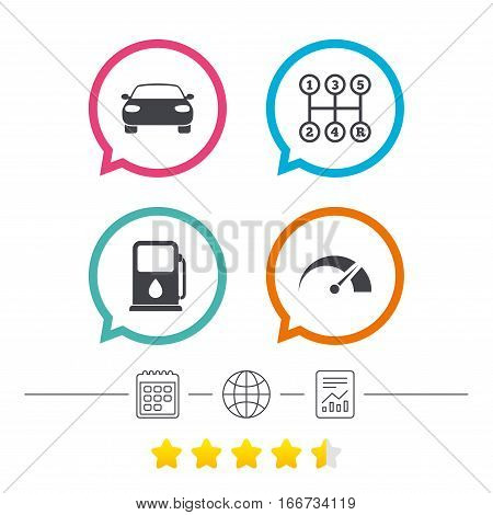 Transport icons. Car tachometer and manual transmission symbols. Petrol or Gas station sign. Calendar, internet globe and report linear icons. Star vote ranking. Vector
