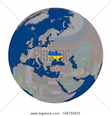 Ukraine On Political Globe