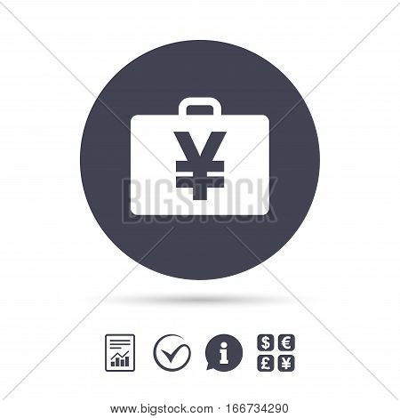 Case with Yen JPY sign icon. Briefcase button. Report document, information and check tick icons. Currency exchange. Vector