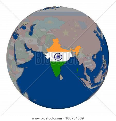 India On Political Globe