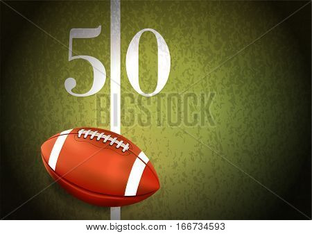 American Football On Turf Field Illustration