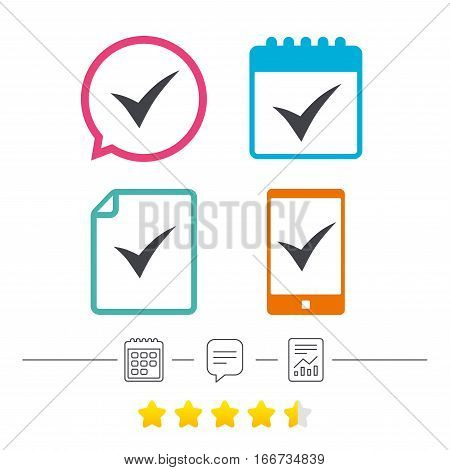 Check sign icon. Yes symbol. Confirm. Calendar, chat speech bubble and report linear icons. Star vote ranking. Vector