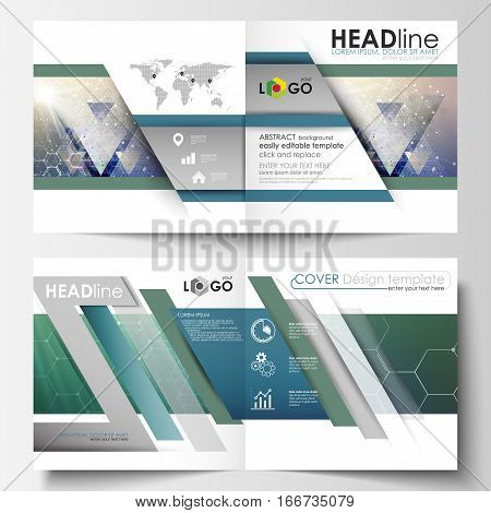 Business templates for square design bi fold brochure, magazine, flyer, booklet or annual report. Leaflet cover, abstract flat layout, easy editable vector. Chemistry pattern, hexagonal molecule structure. Medicine, science, technology concept.