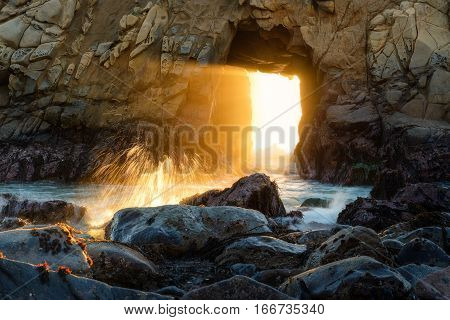 Sunset Through Key Hole Pfeiffer Beach, California