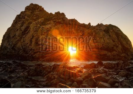Sunset Through Key Hole Pfeiffer Beach, California