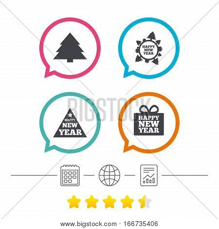 Happy new year icon. Christmas trees signs. World globe symbol. Calendar, internet globe and report linear icons. Star vote ranking. Vector