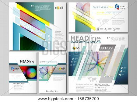 Social media posts set. Business templates. Easy editable abstract flat design template, layouts in popular formats, vector illustration. Colorful design with overlapping geometric shapes and waves forming abstract beautiful background.