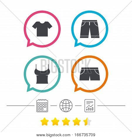 Clothes icons. T-shirt and bermuda shorts signs. Swimming trunks symbol. Calendar, internet globe and report linear icons. Star vote ranking. Vector