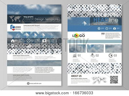 Blog graphic business templates. Page website design template, easy editable abstract flat layout, vector illustration. Blue color pattern with rhombuses, abstract design geometrical vector background. Simple modern stylish texture.