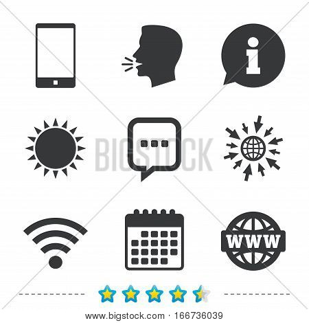 Communication icons. Smartphone and chat speech bubble symbols. Wifi and internet globe signs. Information, go to web and calendar icons. Sun and loud speak symbol. Vector