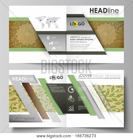 Business templates for square design bi fold brochure, magazine, flyer, booklet or annual report. Leaflet cover, abstract flat layout, easy editable vector. Abstract green color wooden design. Texture with leaves. Spa concept natural pattern in linear sty