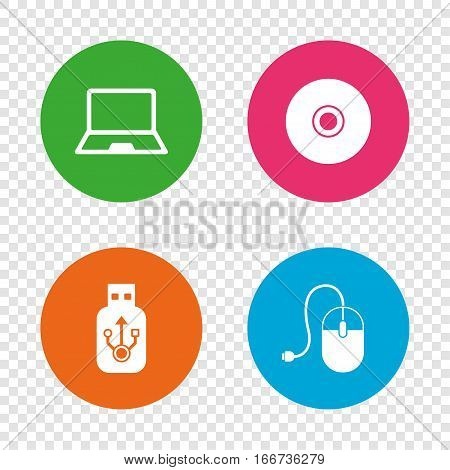 Notebook pc and Usb flash drive stick icons. Computer mouse and CD or DVD sign symbols. Round buttons on transparent background. Vector