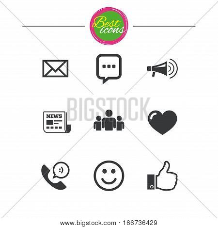 Mail, news icons. Conference, like and group signs. E-mail, chat message and phone call symbols. Classic simple flat icons. Vector