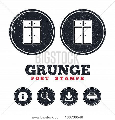 Grunge post stamps. Cupboard sign icon. Modern furniture symbol. Information, download and printer signs. Aged texture web buttons. Vector