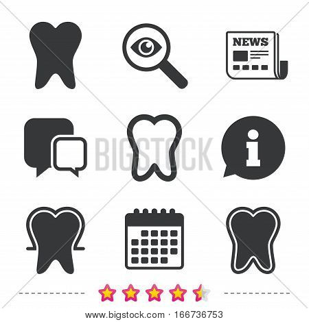 Tooth enamel protection icons. Dental care signs. Healthy teeth symbols. Newspaper, information and calendar icons. Investigate magnifier, chat symbol. Vector
