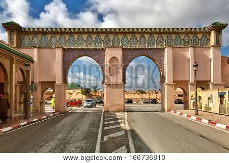 Meknès, Morocco, January 20, 2017: A gate to the Royal palace at Meknès in Morocco.