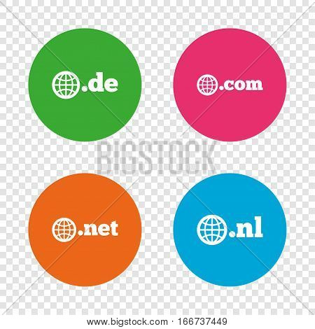 Top-level internet domain icons. De, Com, Net and Nl symbols with globe. Unique national DNS names. Round buttons on transparent background. Vector