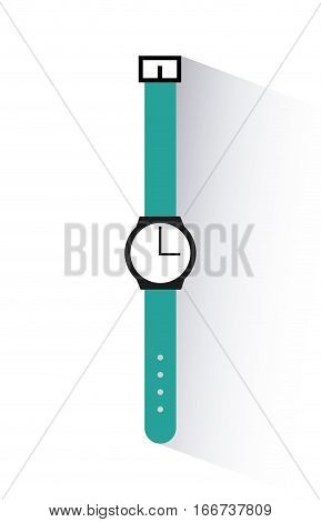 blue watch over white background. colroful design. vector illlustration