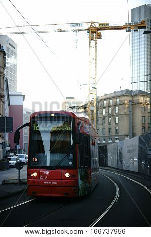FRANKFURT, GERMANY - JANUARY 05: A tram at a construction site at Willy-Brandt-Square in the city center on January 05, 2017 in Frankfurt.