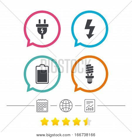 Electric plug icon. Fluorescent lamp and battery symbols. Low electricity and idea signs. Calendar, internet globe and report linear icons. Star vote ranking. Vector