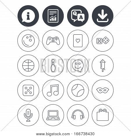 Information, download and report signs. Entertainment icons. Game console joystick, notebook and microphone symbols. Poker playing card, dice and mask thin outline signs. Vector