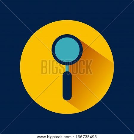 magnifying glass icon over yellow circle and blue background. colorful design. vector illustration