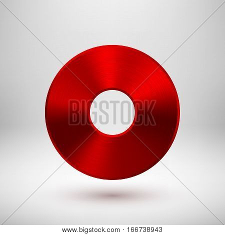 Red abstract donut, geometric ring badge, technology perforated button template with metal texture, chrome, silver, steel, copper and realistic shadow for logo, design, apps. Vector illustration.