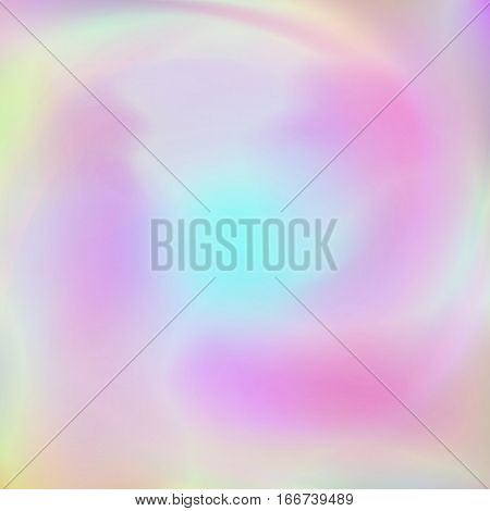 Abstract background with holographic effect. Hologram design card in pastel colors. Blurred colorful pattern, futuristic surreal texture