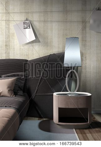 Stylish modern interior with bed. 3D rendering