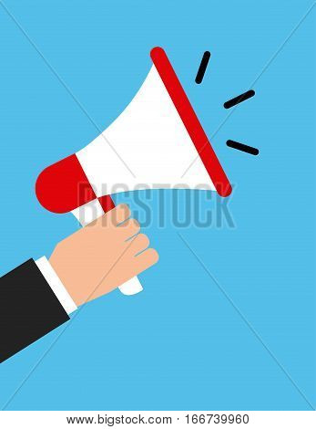 hand with megaphone device icon. colorful design. vector illustration