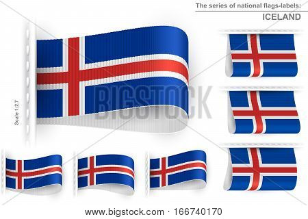 National state flag of Iceland; Sewn clothing label tag from flag of Republic of Iceland; Symbol of the national patriotic pride and political power; Vector set icon Eps10;