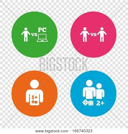 Gamer icons. Board and PC games players signs. Player vs PC symbol. Round buttons on transparent background. Vector