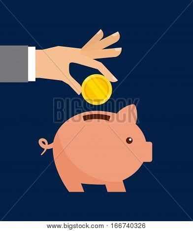 hand with gold coin and piggy moneybox over blue background. colorful design. vector illustration