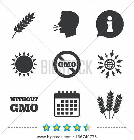 Agricultural icons. Gluten free or No gluten signs. Without Genetically modified food symbols. Information, go to web and calendar icons. Sun and loud speak symbol. Vector