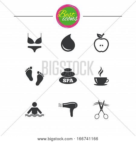 Spa, hairdressing icons. Swimming pool sign. Lingerie, scissors and hairdryer symbols. Classic simple flat icons. Vector