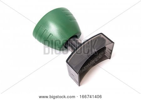 Green stamp isolated on white background